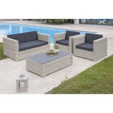 canapé de jardin 2 places salon jardin oceane lunch blanc 1 banquette 2places 2 fauteuils 1
