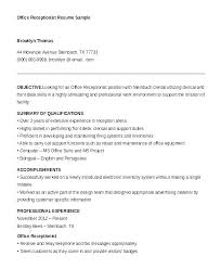 Resume Sample For Secretary Front Office Receptionist