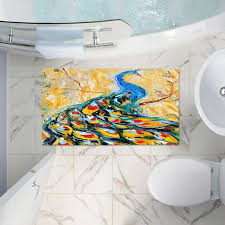Modern Bathroom Rugs And Towels by Karen Tarlton U0027s U0027luminous Peacock I U0027 Artistic Decorative