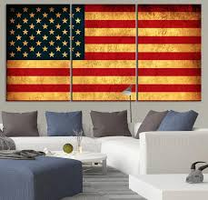 LARGE Wall Art CANVAS Print American Flag Wall Art 3 Panel