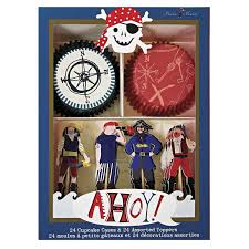 Ahoy There Pirate Cupcake Cases Toppers