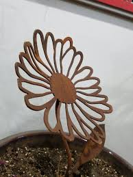 Rusty Metal Daisy Flower Stake Rustic Set Of