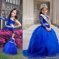 one shoulder beads little girls pageant dresses royal blue long