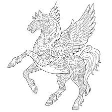 Pegasus Coloring Page Greek Mythological Winged Horse Flying