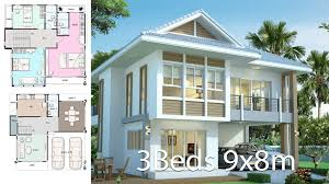 100 Modern Thai House Design Design Plan 9x8 With 3 Bedrooms Plan Map