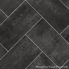 Image Is Loading Dark Grey Herringbone Tile Style Vinyl Flooring Kitchen