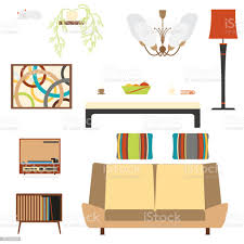 satz einrichtungsgegenstände wohnzimmer mit sofa und player im stil der 70er jahre stock vektor und mehr bilder apfel