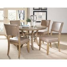 Charleston Desert Tan 5 Piece Round Wood Base Dining Set with