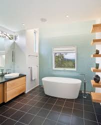 brown tile floor bathroom contemporary with accent wall aqua black