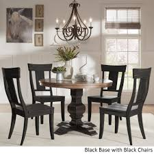 Eleanor Black Round Solid Wood Top 5-Piece Dining Set - Panel Back By  INSPIRE Q Classic Table Glass Likable Solid Chairs Legs Base Round Avenue Oak Top Natural Lacquer Ausgezeichnet Small Wood Ding Tables Spaces Argos Extra Large Chestnut Finish Jacobian 42 Open Up To 60 Wood Top And Four Chairs 6484 Room With Hidden Leaves Missouri Pedestal 6 Set And Napolean 4 White