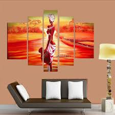 Hand Painted India Gril Oil Painting On Canvas 5pcs Set Modern