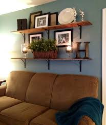 Family Room Build Unique Statement Using Accessories For Decorating Ideas Blue Wall Color With Floating Wooden Shelves Decorative