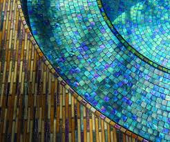 showy oceanside glasstile mosaics lend sparkle with shine to a spa