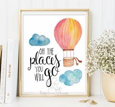 Hot Air Balloon Nursery Adventure Quote Modern Rustic Decor Wall Hanging Art Life Colorful Print Family Room Poster Printable ID64 64