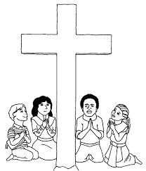 Four Children Praying Coloring Picture For Kids