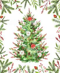 Watercolor Christmas Tree With Flowers Berries And Cones In A Frame Royalty Free