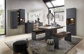 mediana esszimmer inkl led beleuchtung grau haveleiche cognac günstig möbel küchen büromöbel kaufen froschkönig24