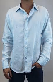 Linen Fitted Long Sleeve Button Down Shirt in Light Blue