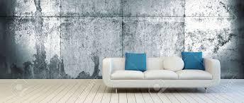 elegante mit weiß und blau grün kissen auf einem leeren wohnzimmer mit vintage metall wand hintergrund und white holzboden