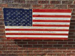 Preamble Engraved Wooden American Flag