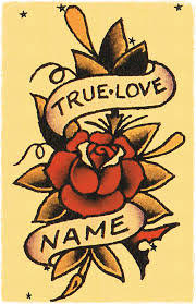 11 X 17 True Love Banner Wrapped Around Roses Sailor Jerry