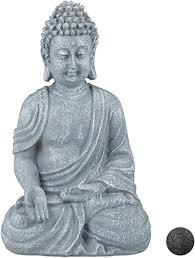 relaxdays buddha figur sitzend 18cm dekofigur für
