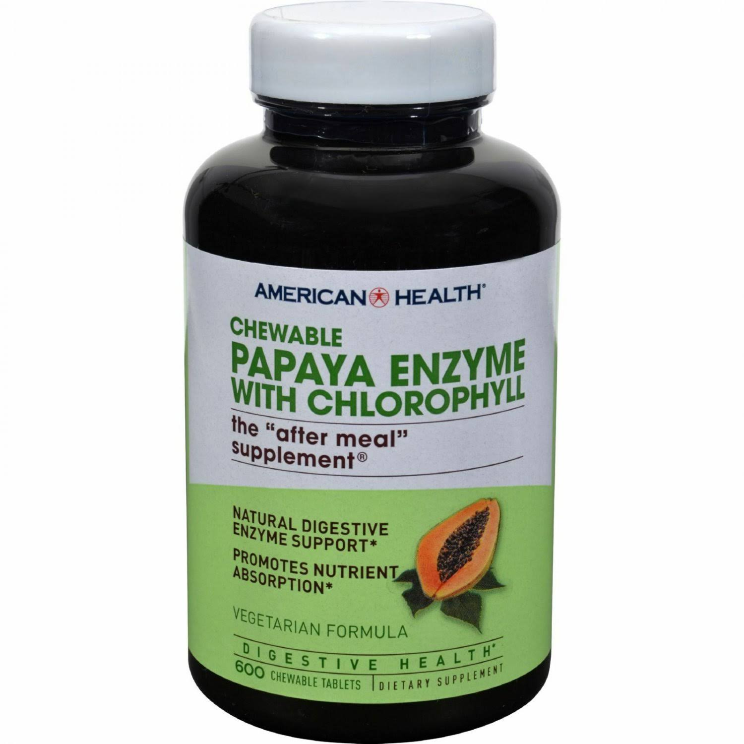 American Health Papaya Enzyme With Chlorophyll - 600 Chewable Tablets