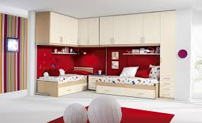 Important Things About Girls Bedroom Decor Noerdin Com Fascinating Colorful Decoration With Double Beds And Upper Storage Also Red Carpet