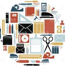 fournitures de bureau fournitures de bureau ensemble dicônes cliparts vectoriels et