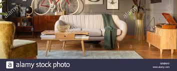 hellgrau sofa mit grüner decke in dunkelgrau wohnzimmer