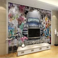 großhandel benutzerdefinierte größe 3d wallpaper fototapete wohnzimmer wand altes auto bemalt graffiti bild sofa hintergrund tapete vlies