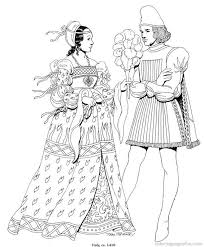 Renaissance Costumes And Clothing Coloring Pages 3