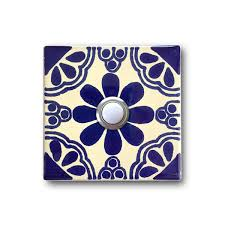 3x3 Blue Ceramic Tile by 3x3 Handcrafted Ceramic Tile Doorbell Cover With Lighted Button