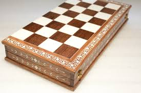 The Antique Series Faux Ivory Plastic Inlaid Sheesham Wood Folding Chess Board