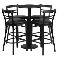 24'' Round Black Laminate Table Set With 4 Ladder Back Bar Stools - Black  Vinyl Seat Vintage Mid Century Chrome And Vinyl Play Table Chair Set 5 Piece Card Products Table Set Mcintosh Ding 6 Chairs Black Multipurpose 42 Round Xt Base With 4 Manor Antimicrobial Stack Cherry Finish And Teal Drop Leaf Four Teak Danish Design Flash Fniture 36 Square Walnut Laminate Ladder Back Metal Seat Trademark Gameroom Coca Cola Upholstery Pub Bar Stools Backs Cool Retro Dinettes 1950s Style Cadian Made Sets Details About 5piece Folding Indoor Room Game Friends Upholstered Cosco Natural Grid