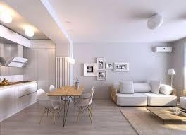 offene küche mit wohnzimmer weiss cremeweiss holz modern