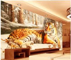großhandel 3d angepasste tapeten 3d wandbilder tapete für wohnzimmer landscape des sibirischen tiger living style tapete wallpaper20151688