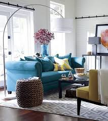 A Blue Yellow And Grey Living Room