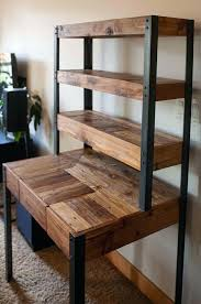 Diy Industrial Desk Dazzling Pallet Plans Multi Tiered Pallets Pipe Table