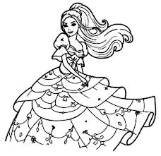 Long Haired Barbie Coloring Pages
