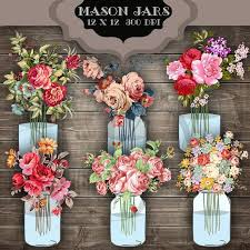 Wedding Clip Art Mason Jar Bouquet Digital Clipart