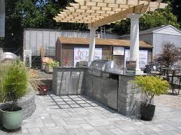 walnut wood grey raised door prefab outdoor kitchen grill islands
