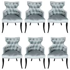 Dark Gray Velvet Dining Chair by Grey Tufted Dining Chairs With Nailheads Chair By Barbara Barry