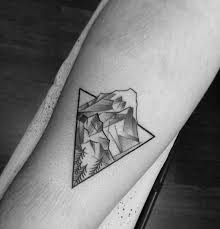 Mountain With Trees Cool Simple Triangle Inner Forearm Tattoos For Men