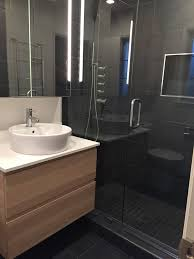 charcoal bathroom contemporary with slate tile wall and