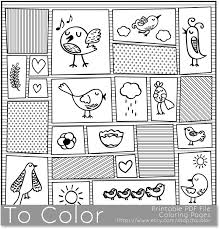 Printable Whimisical Birds Coloring Page For Adults PDF JPG Instant Download