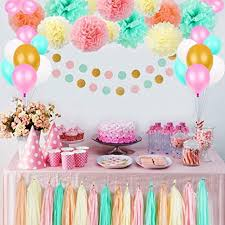 Party Birthday Decorations Pom Poms Flowers Kit Paper Garland And Tassels For 1st