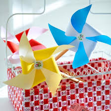 Make Your Own Pinwheels From Squares Of Coloured Paper