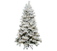 75 Slim Flocked Christmas Tree by Santa U0027s Best 6 5 U0027 Flocked Sherwood Spruce Christmas Tree W Easy