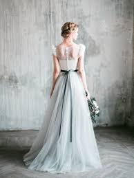 Romantic Grey Wedding Dress Neva Lace And Tulle A Line Gown
